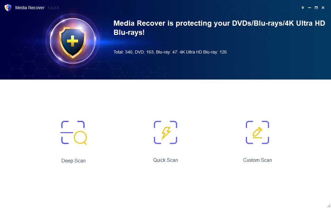 media recover for Blu-ray