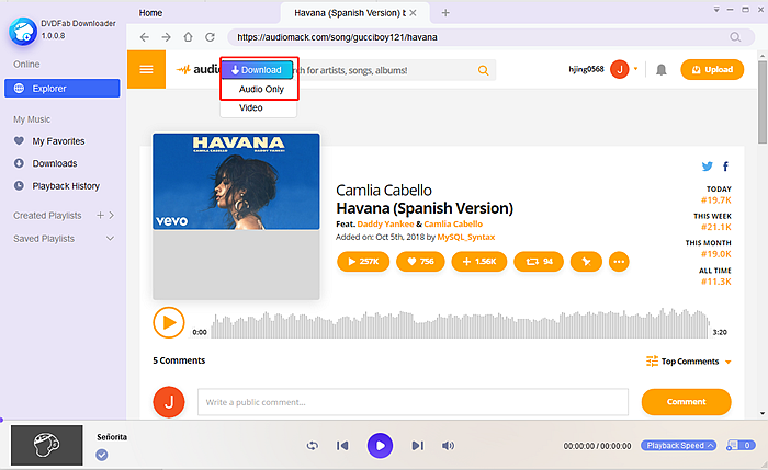 Download Havana with DVDFab YouTube to MP3