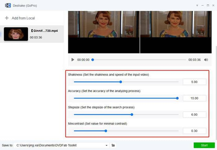 Customize video settings related to stabilization