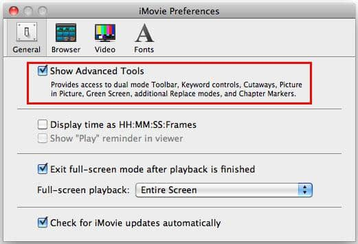 Launch a project in imovie