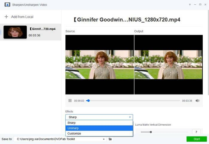 Use unsharpe as the tool to blur video