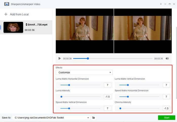 Customize the video settings to acheive blurred effect