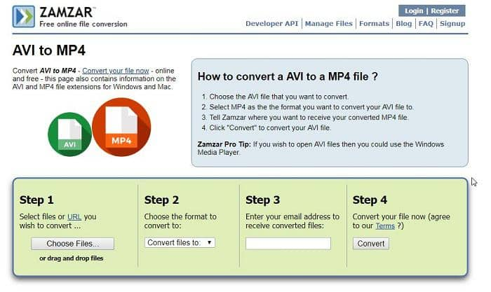 convert avi to mp4 online free large files