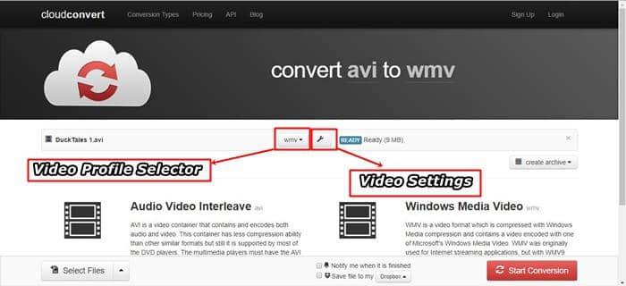 convert avi to wmv online