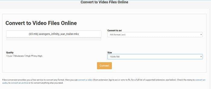 convert mkv to avi online