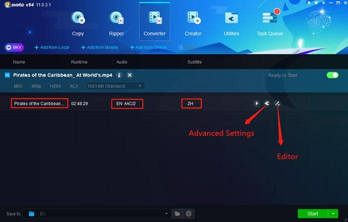 click the advanced settings to cusomize your video