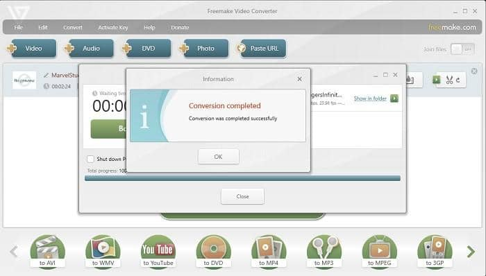 convert vob to mp4 freely