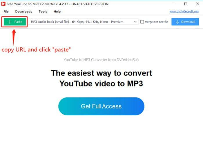 dvdvideosoft youtube to mp3 - paste