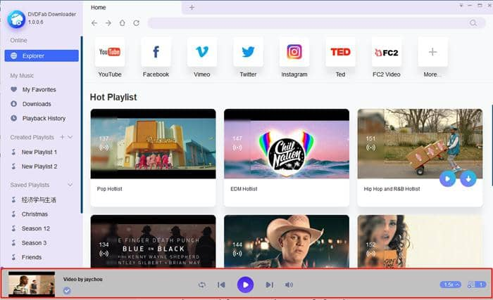 dvdfab youtube to mp3 - in-built player