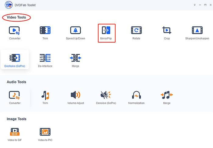 Download DVDFab Toolkit to flip a video