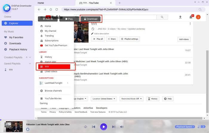 Search for playlist from DVDFab YouTube playlist downloader