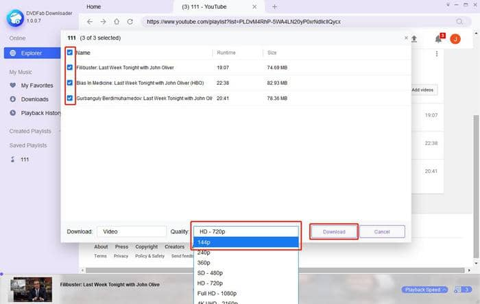Choose output quality from the YouTube playlist downloader