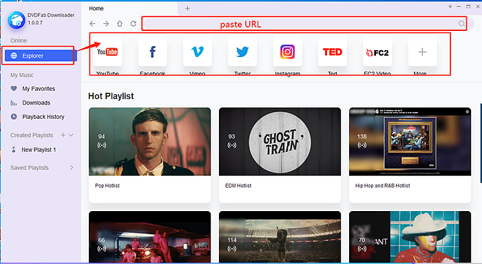 Paste url or search explorer to find music