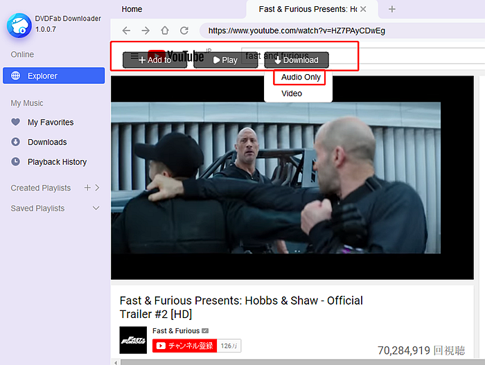 Download audio with DVDFab YouTube to MP3