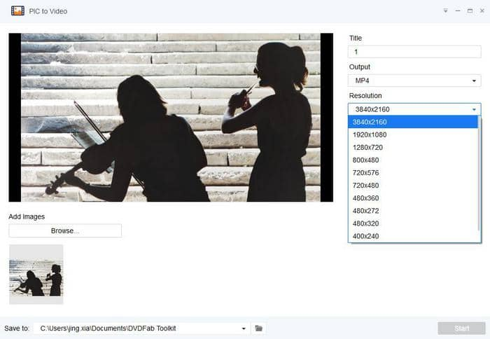 DVDFab Toolkit image to video converter