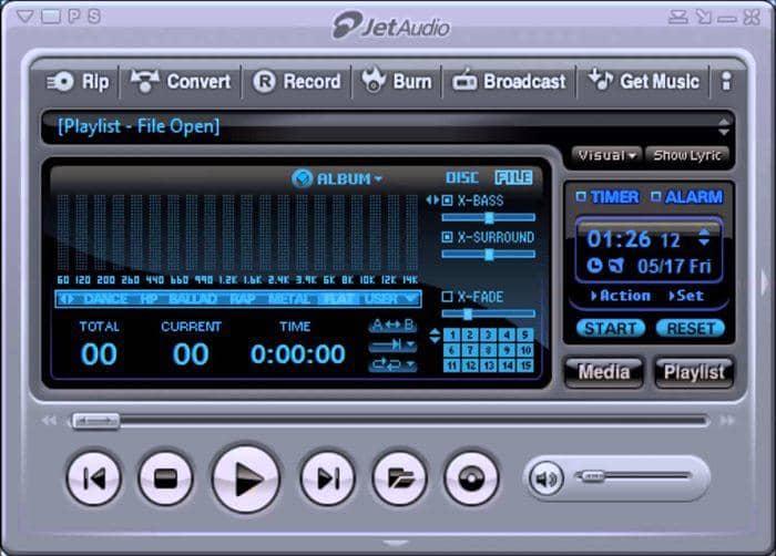 JetAudio is a shareware music player