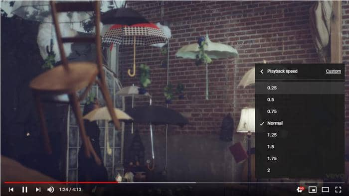 Switch between different playback speed on YouTube