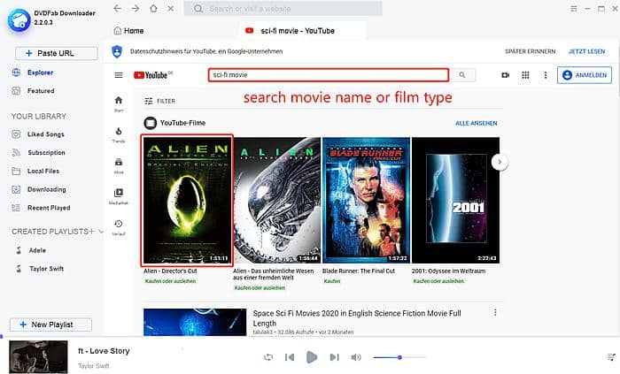 Download YouTube Sci-fi Movies with DVDFab Downloader