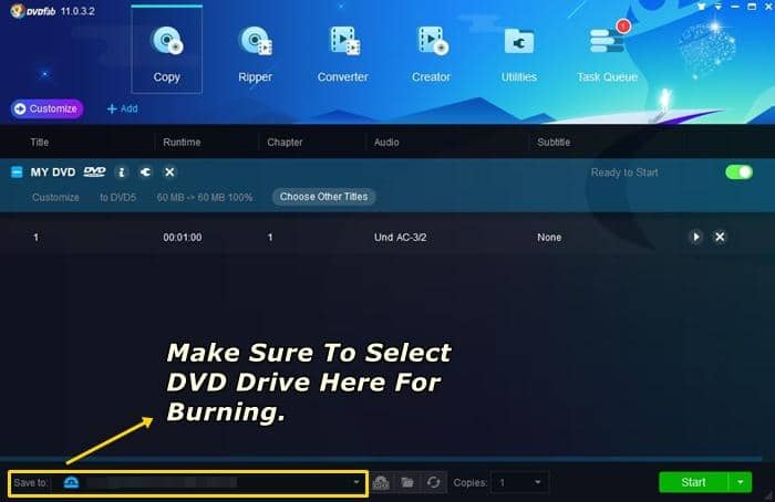 make sure your dvd drive is selected to save to location before start