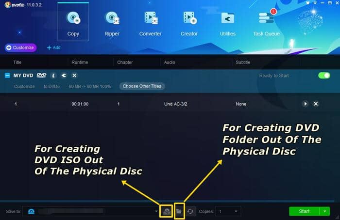 creat dvd iso/folder out of the physical disc