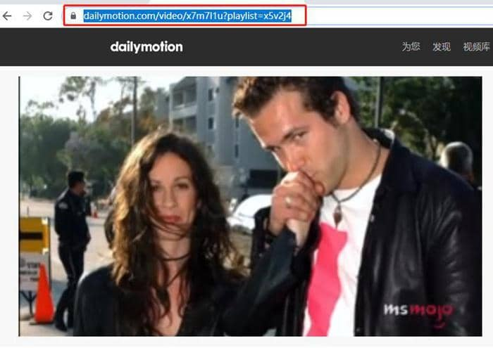 Copy the url of dailymotion video