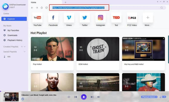 Paste the url of dailymotion video onto the search box