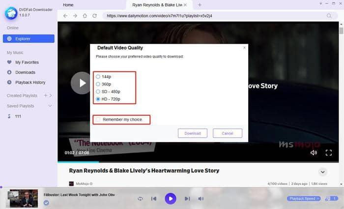 Choose default video qualtiy