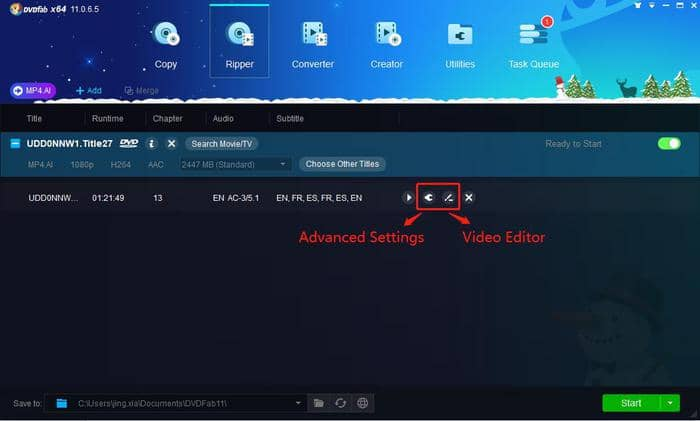 Use advanced settings or video edit to customize the video