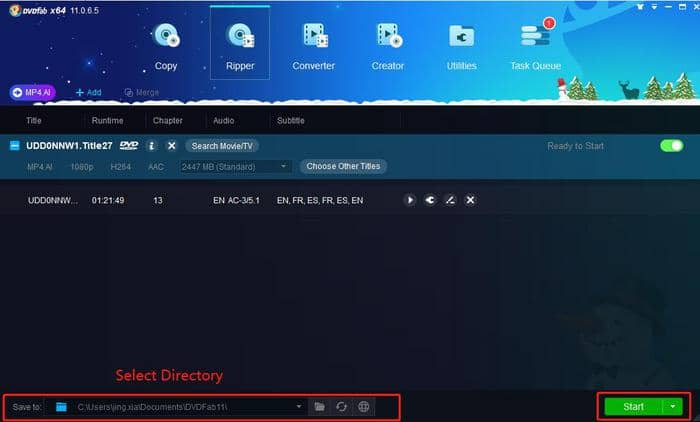 Select Directory and Output the Video