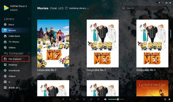 powerful movie player with file explorer to load the file