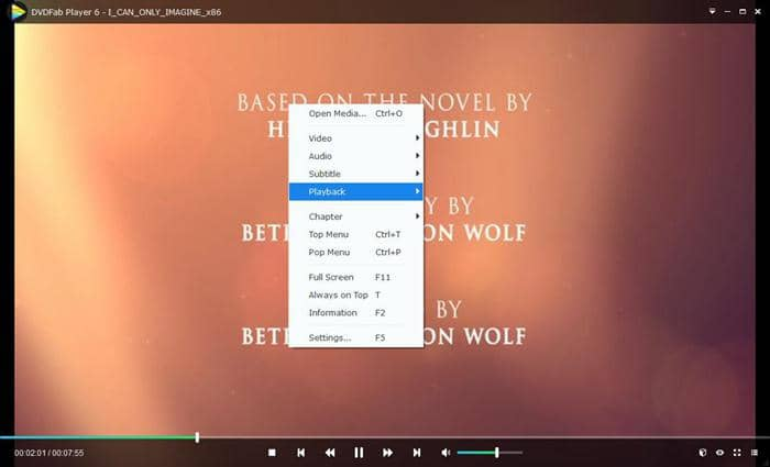 Right click to control settings during the movie playing