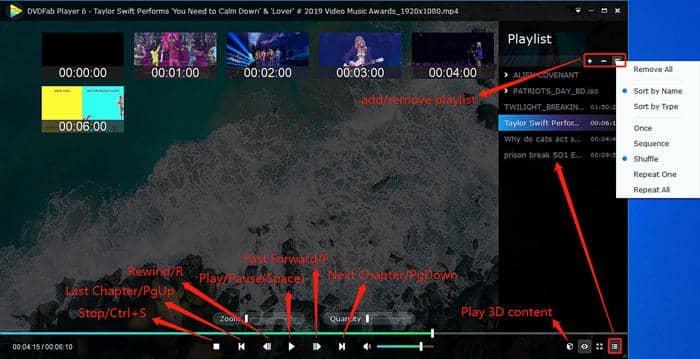 Edit playlist of DVDFab Player 6