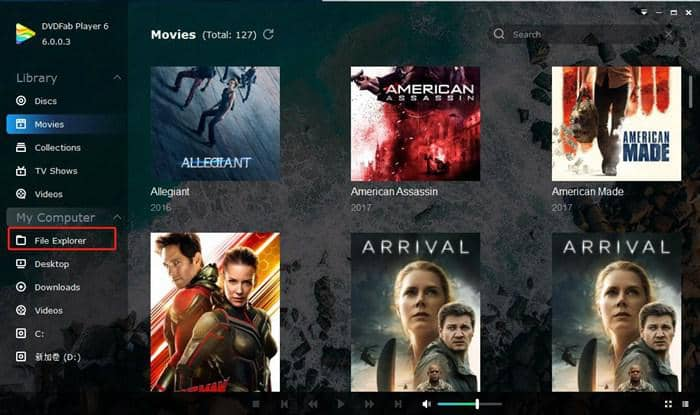 blu-ray player with file explorer to load the file
