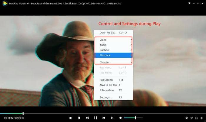 control the settings during movie playing