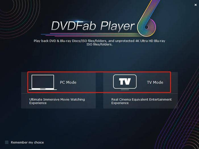 blu-ray player with two modes